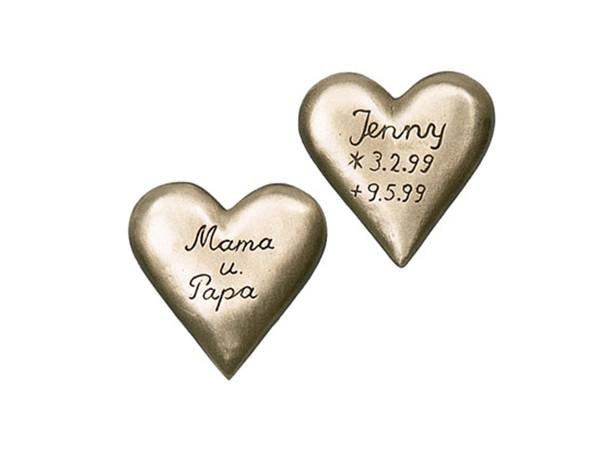 Bronzen hartje met tekst