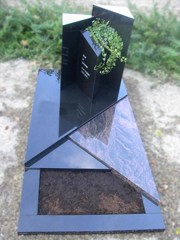 Gedenksteen 3 delen met plantvak