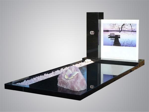 Glasplaat met print en roze quartz